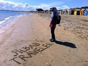 "Me at Brighton Beach, Melbourne, when accompanying Asma Nadia in her ""Jilbab Traveler."""